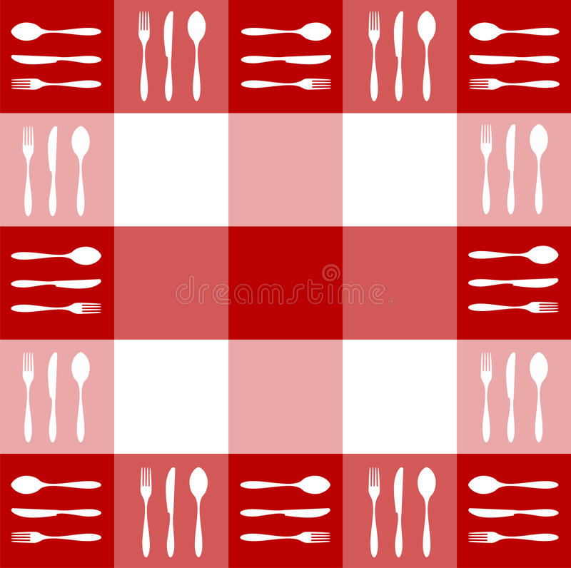 Download Red Tablecloth Texture With Cutlery Pattern Stock Vector - Image: 11161827