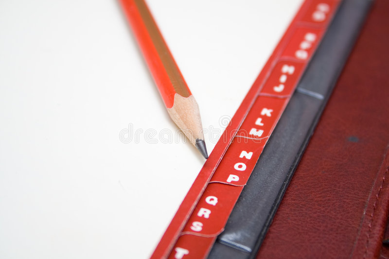 Download Red tabs and pencil stock image. Image of information - 4626037