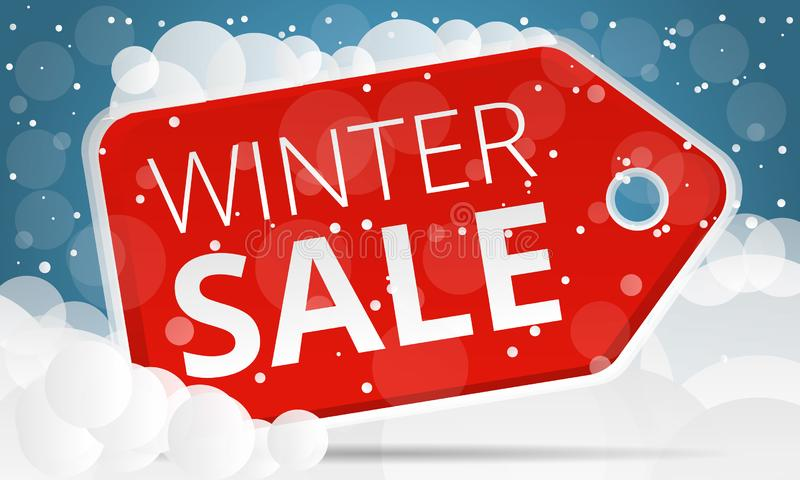 Red tag winter sale concept banner, cartoon style. Red tag winter sale concept banner. Cartoon illustration of red tag winter sale vector concept banner for web stock illustration