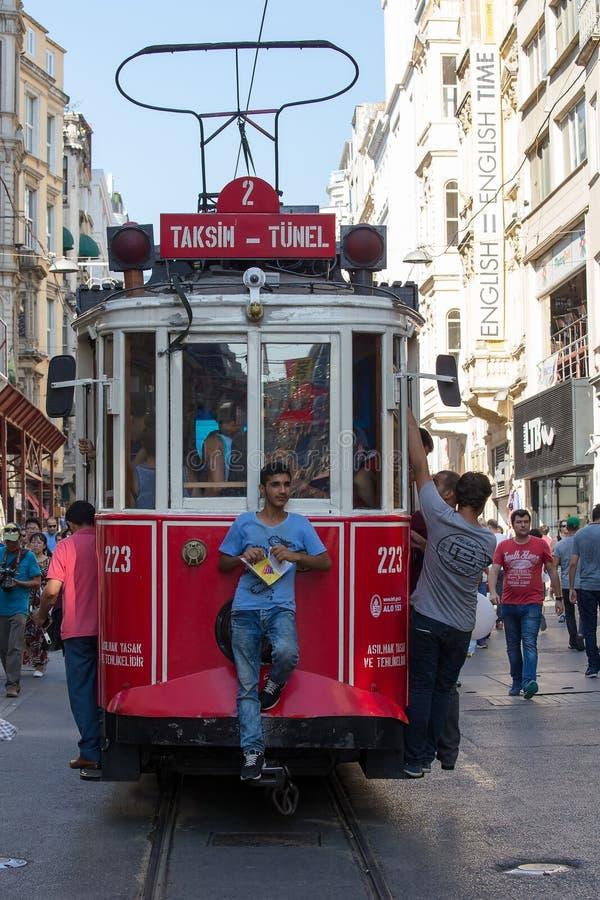 Red Taksim Tunel Nostalgic Tram on the istiklal street. Istanbul, Turkey stock images