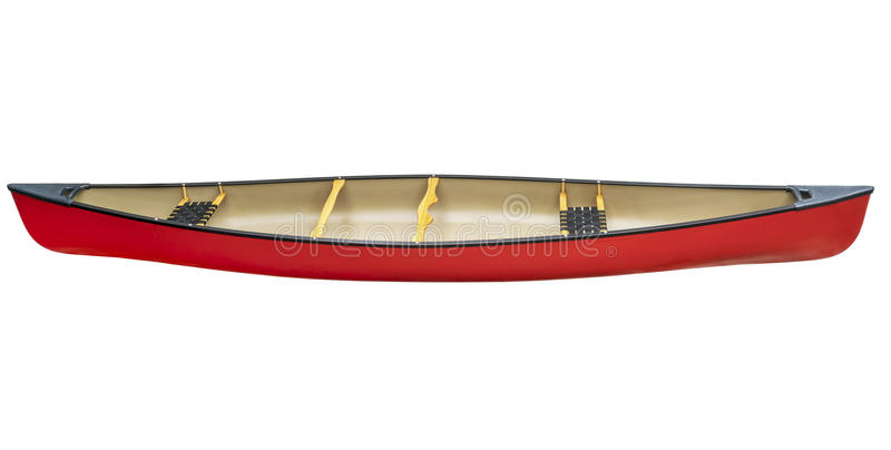 Red tandem canoe isolated royalty free stock images