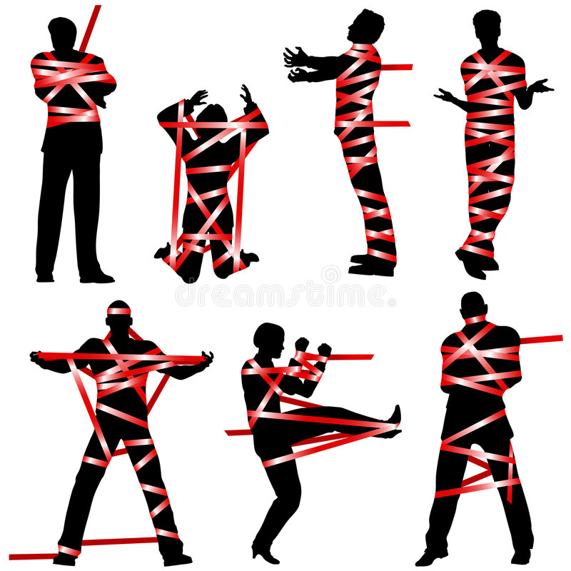 Red tape. Set of editable vector silhouettes of people wrapped in red tape stock illustration