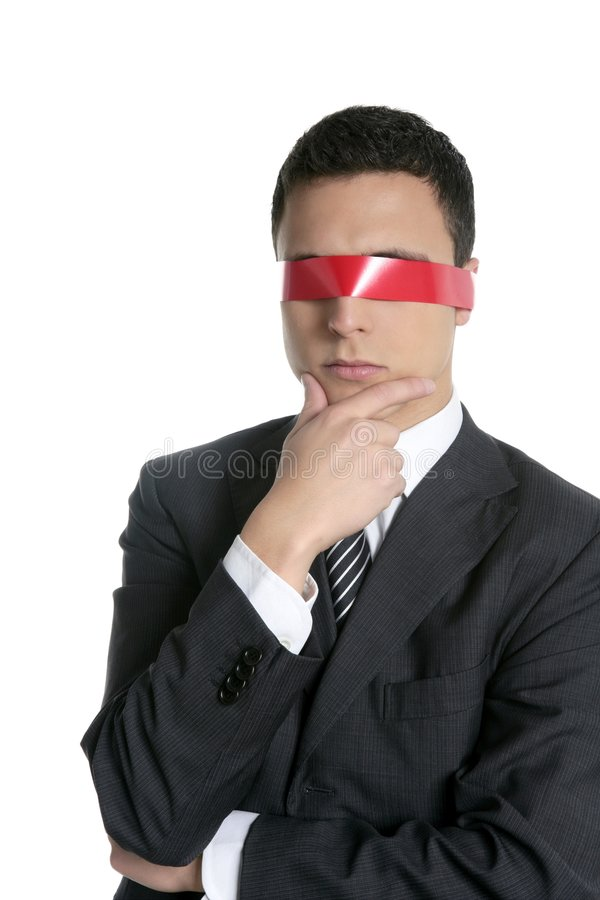 Red tape blindfold businessman isolated stock image