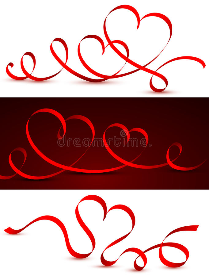 Red tape in the form of hearts. royalty free stock image