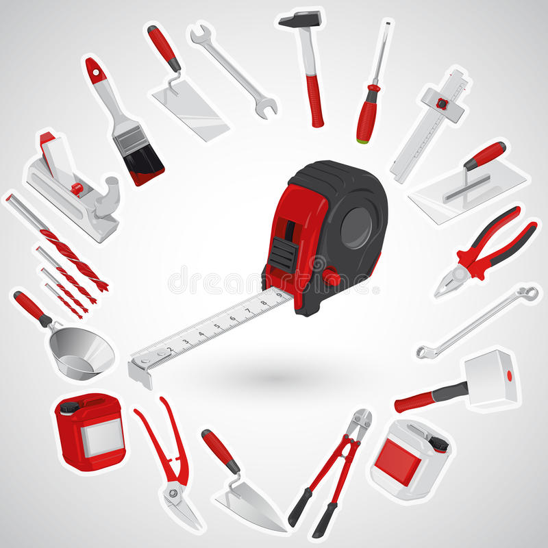Free Red Tape Measure - Set Of Red Construction Tools - Instruments Stock Image - 63448241