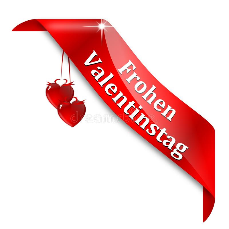 Red tape with the words happy valentines day. In German - illustration royalty free illustration