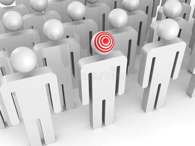 Red target on one person of big people group vector illustration