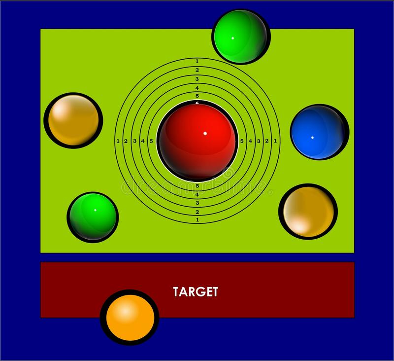 RED target. Main target. The picture shows a RED target sign. The painting depicts a red target, which has always been the main target vector illustration