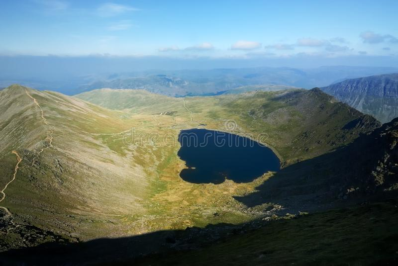 Red Tarn. From Helvellyn, England royalty free stock image
