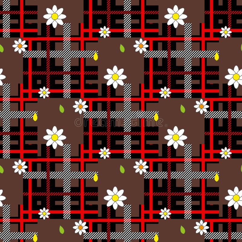 Red tartan plaid and daisy flowers pattern on checkered background for textile vector illustration