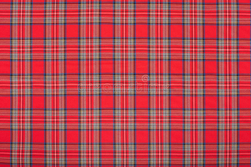 Red tartan, scottish fabric texture, background stock photo