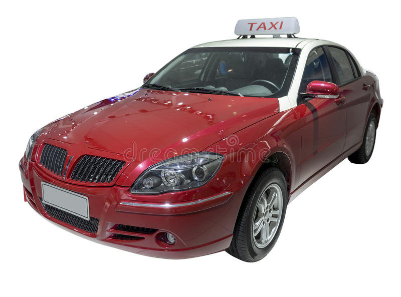 Red TAXI. Without shadow isolate on white stock image