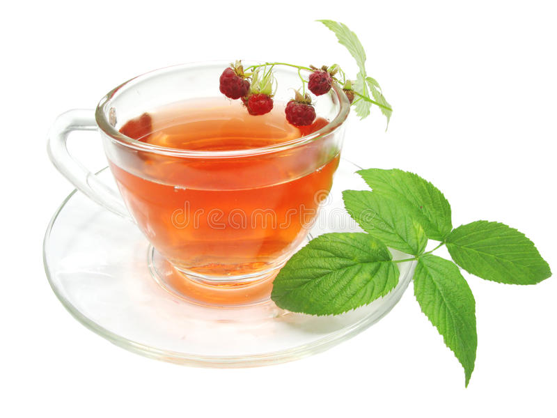Red tea with raspberry stock photo