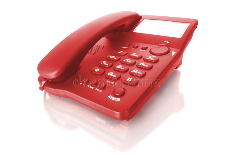 Red telephone. Isolated on white with reflection royalty free stock photo