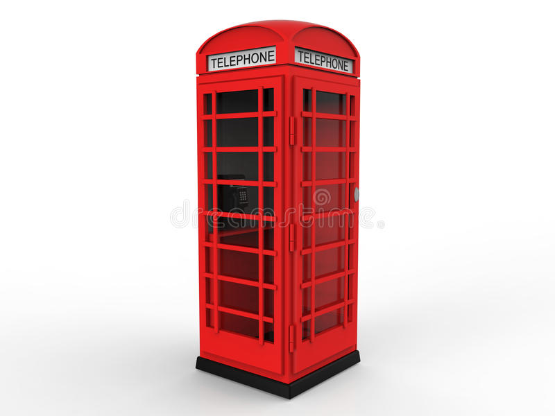 Red Telephone Booth. A classic British red telephone booth on white. 3D render royalty free illustration