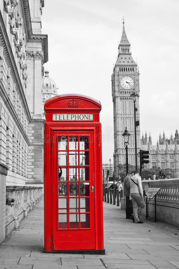 Red Telephone Booth and Big Ben in London. Street royalty free stock image