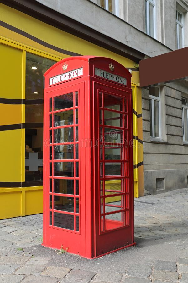 Red Telephone Booth. Famous British Icon Red Telephone Booth Cabin Communication royalty free stock image