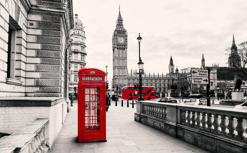 Red Telephone Booth in London stock photography