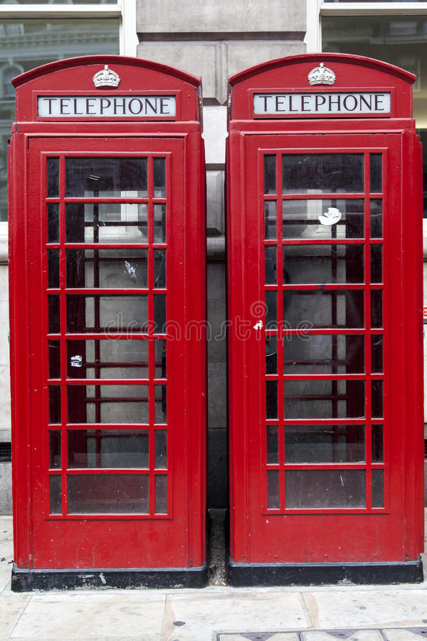 Free Red Telephone Booths In London England Stock Photography - 24855272