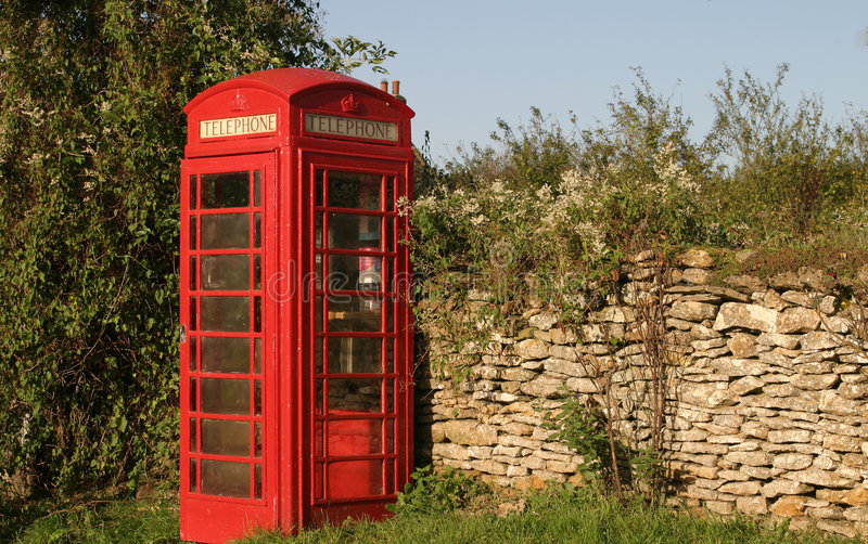 Download Red Telephone Box stock photo. Image of drystone, wall - 1365436