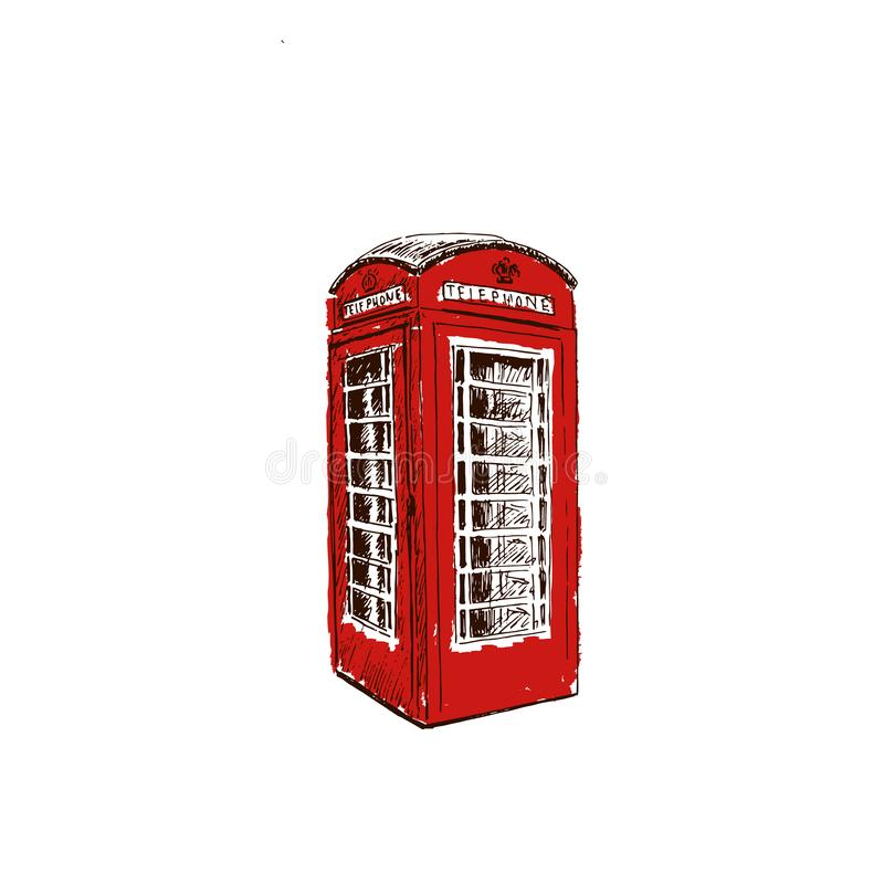 Red telephone box. call box London isolated. Sketch style ink pen. Concept idea for logo, tag, banner, advertising, prints, wrapping, decoration package stock illustration