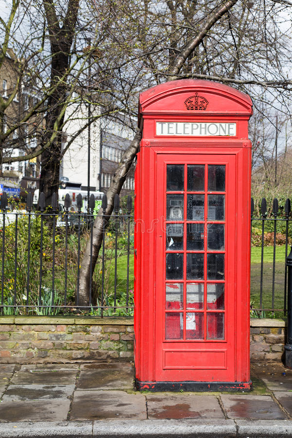 Red Telephone Box in Central London stock photography