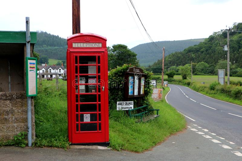 A red telephone box in the hills of North Wales stock photos