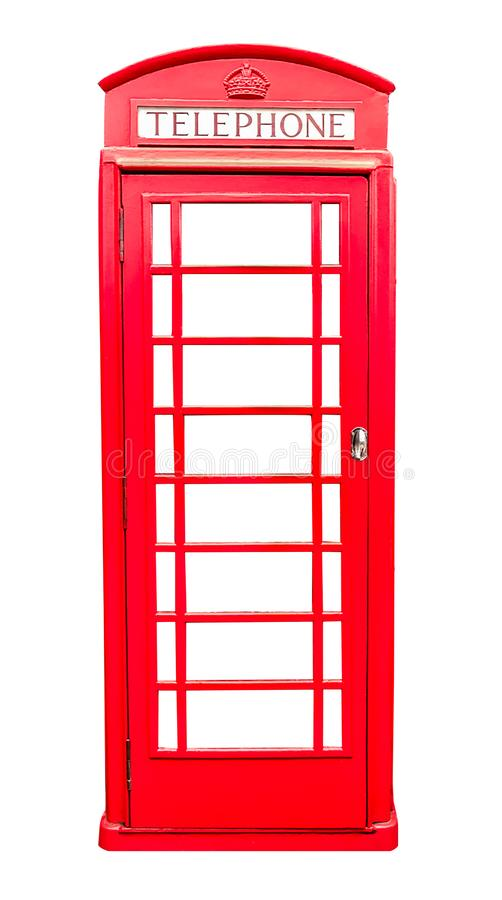 Red telephone box isolated on white background with clipping path stock photos