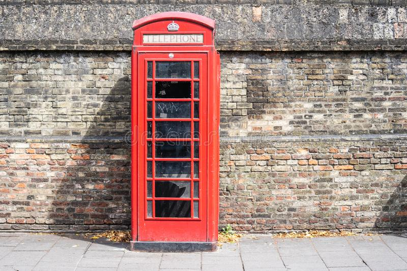 The red telephone box, a telephone kiosk for a public telephone is a familiar sight on the streets of the United Kingdom, Malta, stock photo