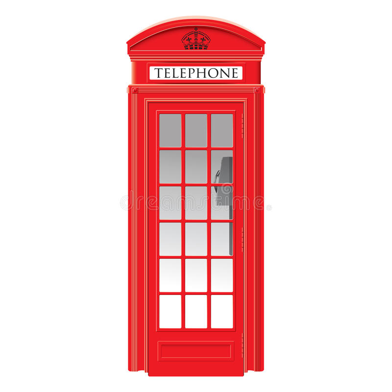 Red telephone box - London - very detailed royalty free illustration