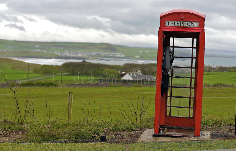 Red Telephone Box. Near the Giants Causeway in Northern Ireland royalty free stock photography