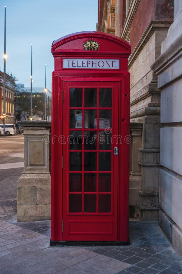 Red telephone box in London, England, United Kingdom stock image