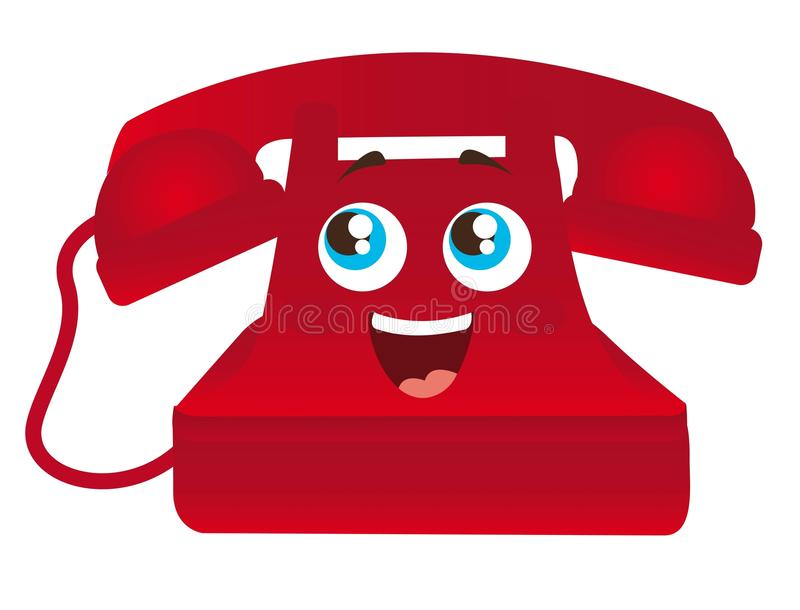 Red Telephone Cartoon Stock Vector. Illustration Of Cord