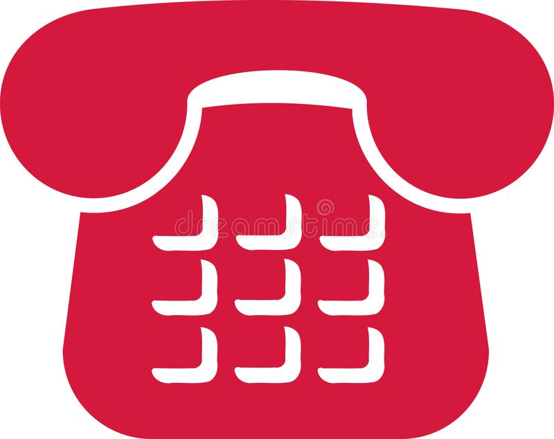 Red telephone icon royalty free illustration