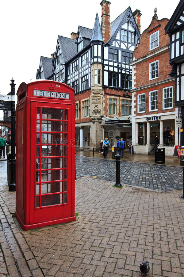 Free Red Telephone Kiosk In Old Part Of Chester Royalty Free Stock Photo - 25897795
