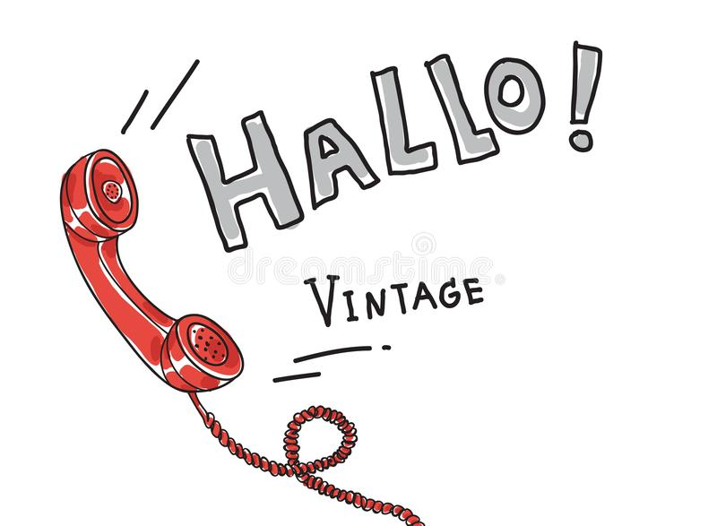 Red Telephone Vintage Retro hand drawn cute art vector illustra stock illustration