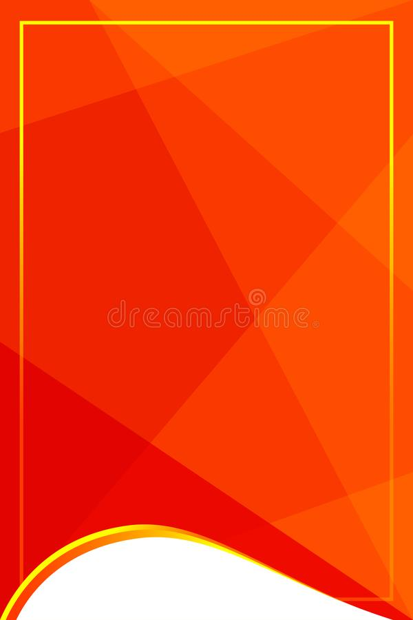 Red template banner with golden glitter frame on soft red geometric background, gold frame on red for advertising promotion stock illustration