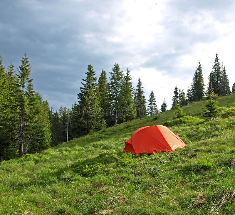 Download Red tent set in wilderness stock image. Image of wilderness - 22674663