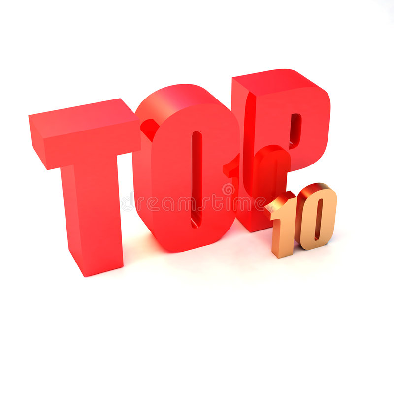 Red text. Isolated 3d red text TOP 10 stock illustration