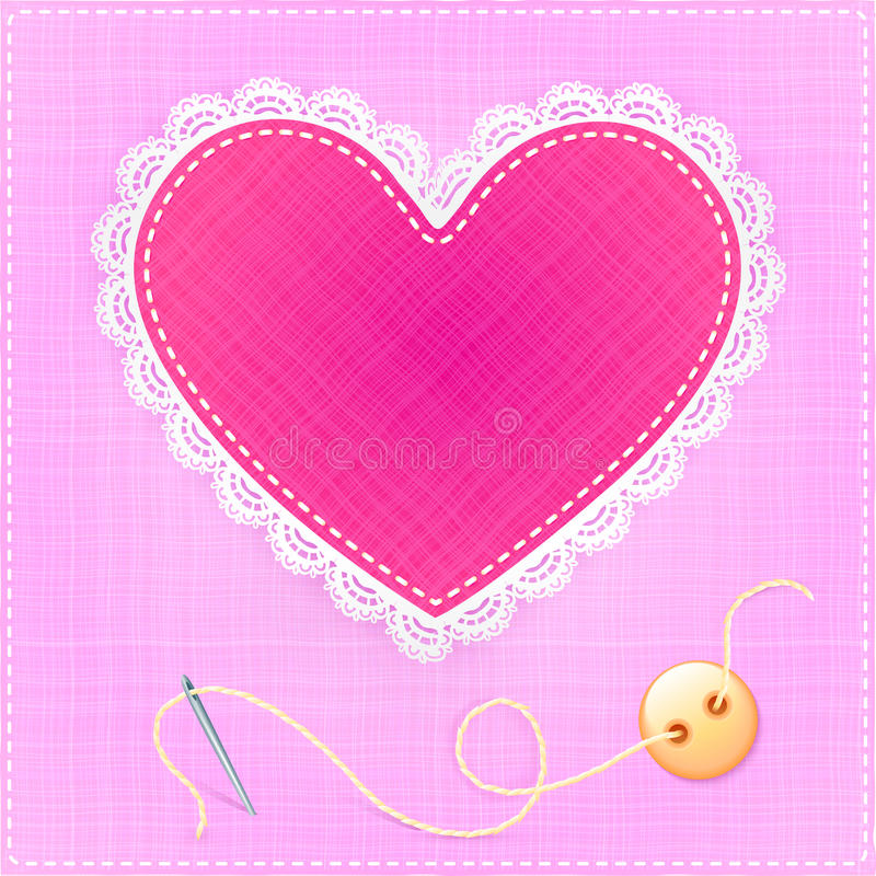 Download Red Textile Heart With Lace, Needle And Button Stock Vector - Image: 28901657