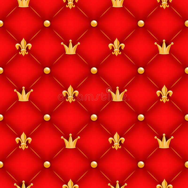 Red texture with crowns, lilies and buttons. stock illustration