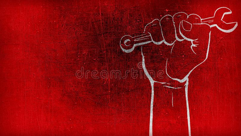 Red textured background with rastro textured red gradient background with white hand in spanner for labor Day may day stock image