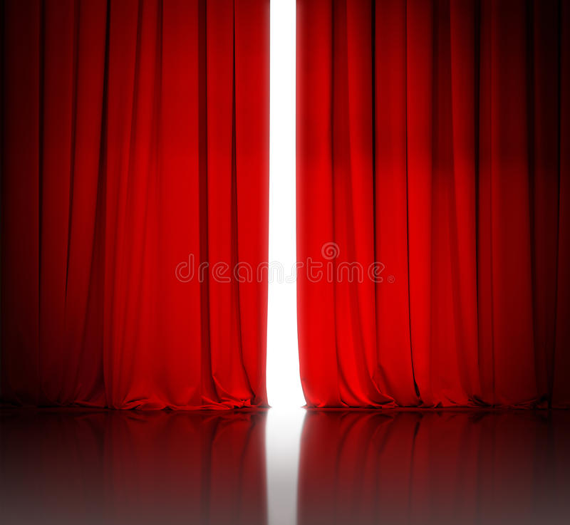 Red theater or cinema curtain slightly open and white light. Behind it