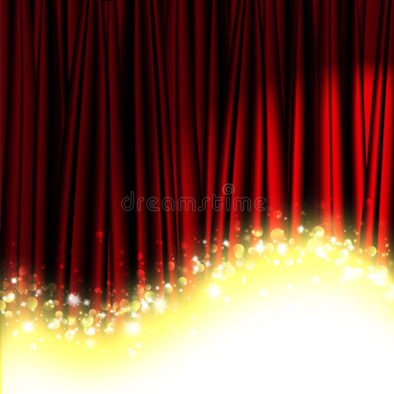 Red theater curtain. With stars vector illustration