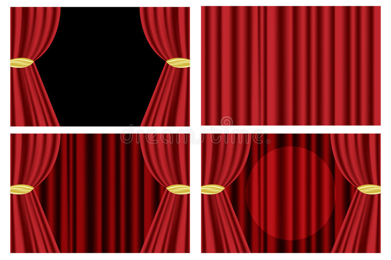 Red theater curtain. Set of four red theater curtain isolated on white background.EPS file available stock illustration