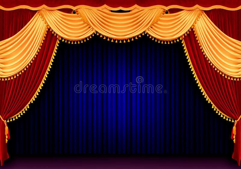 Red theater curtain. With blue back royalty free stock image