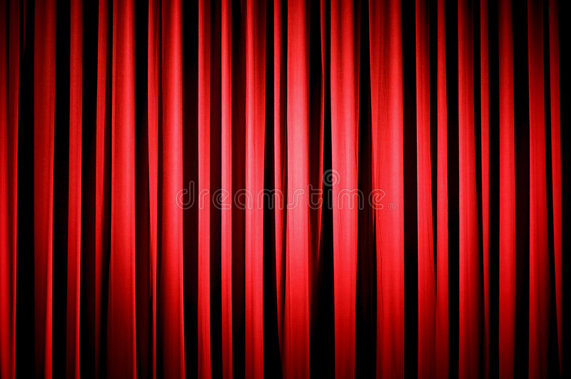 Red Theater Curtain. With the Spotlight Centered stock illustration