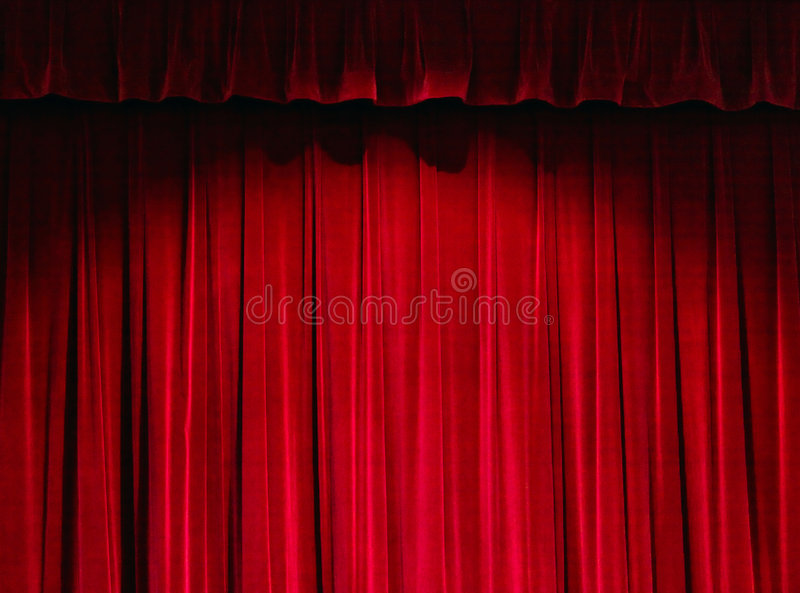 Red Theater Curtain. With the Spotlight royalty free stock images