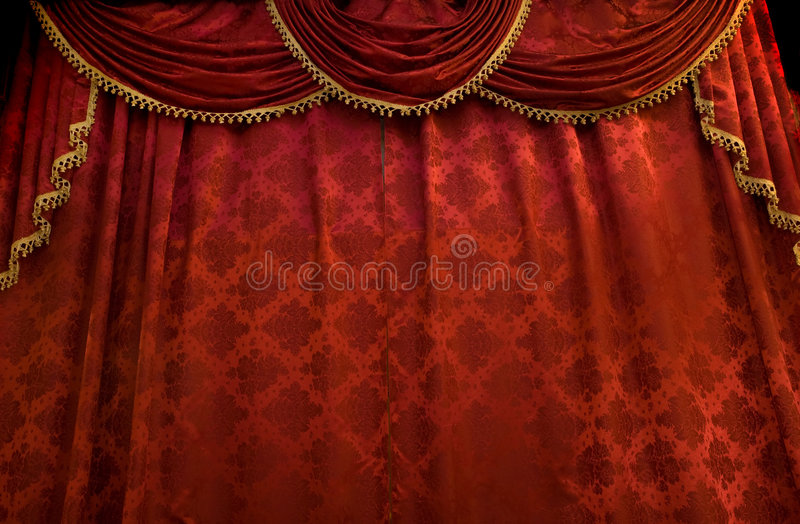 Red theater curtain. Stage show presentation concept stock image