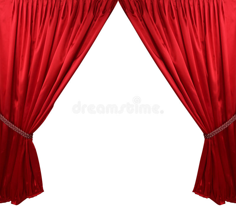 Red theater curtain background. Isolated stock image